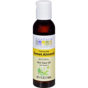 Aura Cacia Sweet Almond Oil with Vitamin E - Natural Skin Care Oil - 4 Fl Oz
