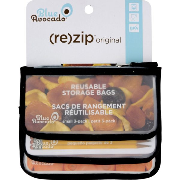 Blue Avocado Reusable Bags- Black rezip- 3 Pack. Reduce waste. The GreenLine Market