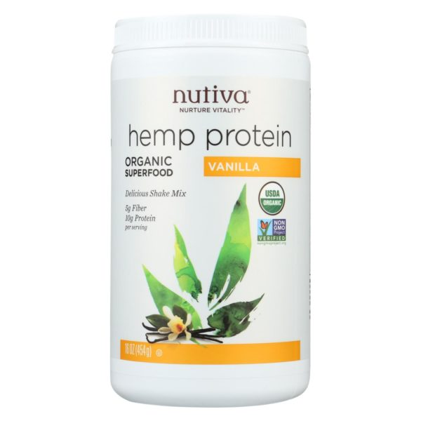 Nutiva Organic Vanilla Hemp Protein Powder - 16 Oz. Organic, Vegan, Non GMO. The GreenLine Market