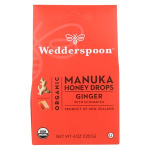 Wedderspoon Organic Manuka Honey Cough Drops Ginger