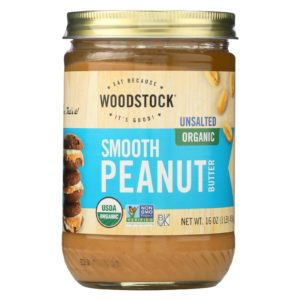 Woodstock Organic Peanut Butter Smooth Unsalted 16oz - The GreenLine Market