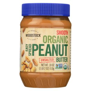 Woodstock Organic Peanut Butter Smooth Unsalted -18oz