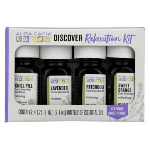 Aura Cacia 4 Essential Oil Kit - Discover Relaxation- 0.25 Oz each