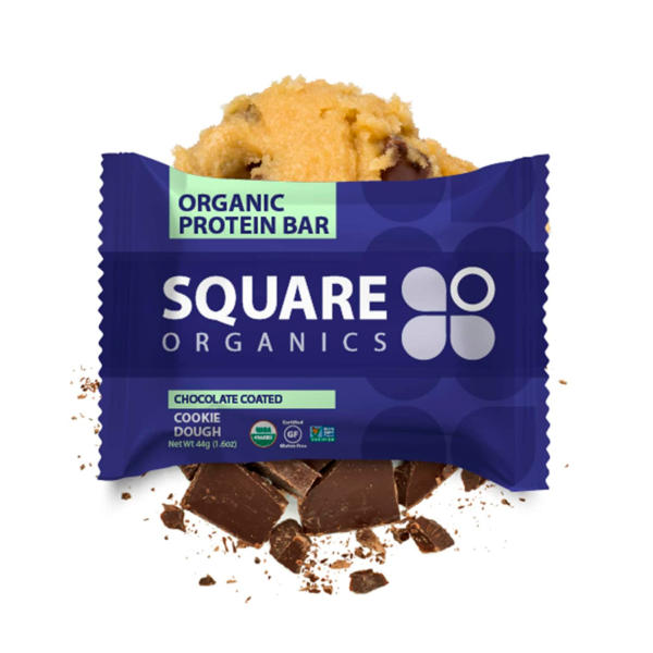 Square Organics Protein Bar Chocolate Coated Cookie Dough 1.6oz - 12 Pack