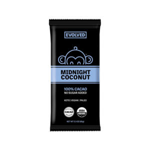Evolved Chocolate Bar Midnight Coconut 100% Cacao 2.3oz - 8 Pack - The GreenLine Market