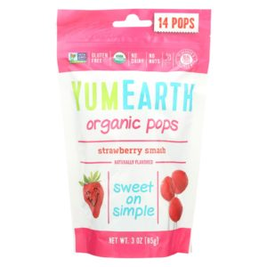 YumEarth Organic Lollipops Strawberry 3 Oz - Case Of 6