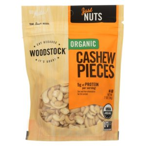 Woodstock Organic Raw Cashews - 7 oz - Case Of 8