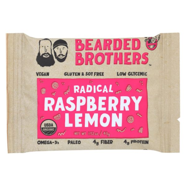 Bearded Brothers Energy Bar Raspberry Lemon 1.52 oz - Case Of 12