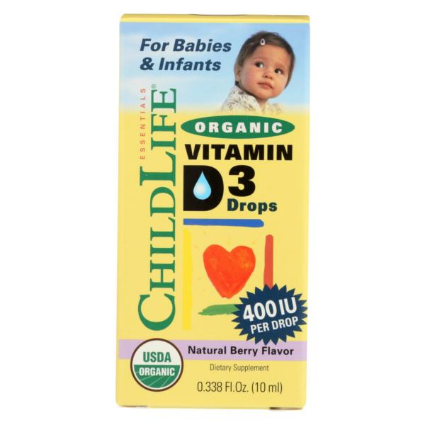 Childlife Organic Vitamin D3 Drops For Babies And Infants - Natural Berry Flavor - .338 Oz - The GreenLine Market