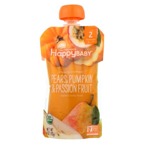 Happy Baby Food Pears Pumpkin Passion Fruit 4oz - Case Of 16